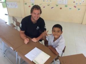 Simon, returns regularly to help our kids