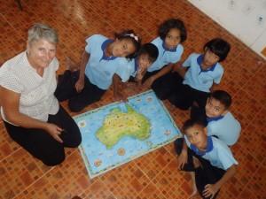 One of our dedicated volunteers at Bon Soon School
