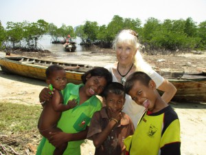 Amanda visiting the Sea Gypsy kids on Koh Payam